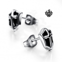 Silver cross stud black stainless steel shield earrings soft gothic