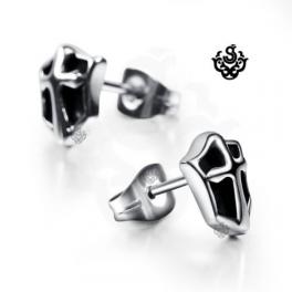 Silver cross stud black stainless steel shield earrings soft gothic