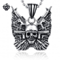 Silver skull with guns pendant stainless steel task force gunner necklace