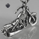 Silver skull motor bikies pendant stainless steel 3D motorcycle necklace
