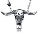 Silver bull pendant buffalo horn skeleton stainless steel necklace