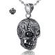 Silver skull pendant black swarovski crystal eyes stainless steel necklace