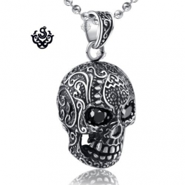 Silver skull pendant black swarovski crystal eyes stainless steel necklace