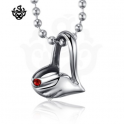 Silver heart pendant red swarovski crystal stainless steel necklace soft gothic