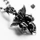 Silver celtic cross stainless steel vintage style skull sword wings pendant