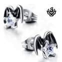 Silver stud clear swarovski crystal earrings angel wings stars soft gothic