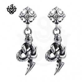 Silver earrings swarovski crystal snake spear stud soft gothic