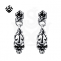 Silver earrings black swarovski crystal skull fire stud soft gothic