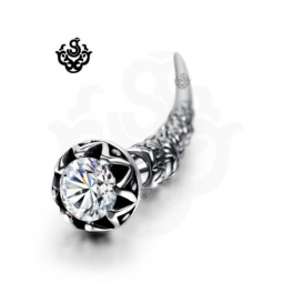 Silver horn stud clear swarovski crystal earring SINGLE soft gothic