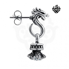 Silver dragon earring clear swarovski crystal stud SINGLE soft gothic