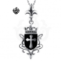 Silver cross stainless steel crown pendant necklace soft gothic big