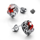 Silver earrings swarovski crystal stud vintage style 2ct soft gothic