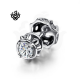 Silver crown stud swarovski crystal single double side earring soft gothic