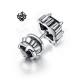 Silver stud black swarovski crystal single double side earring soft gothic