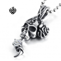 Silver pendant stainless steel skull rose simulated diamond gothic necklace