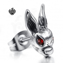 Silver earring red swarovski crystal rabbit SINGLE stud soft gothic