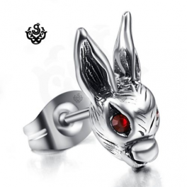 Silver earring red swarovski crystal rabbit SINGLE stud soft gothic