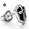 Silver cross stud black stainless steel shield SINGLE earring