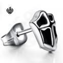 Silver cross stud black stainless steel shield SINGLE earring