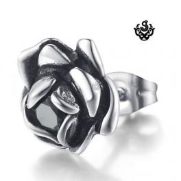 Silver stud black swarovski crystal stainless steel rose earring vintage style