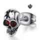 Silver stud red swarovski crystal stainless steel skull earring SINGLE