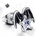 Silver stud clear swarovski crystal earring angel wings star SINGLE soft gothic