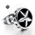 Silver black star stud stainless steel single earring