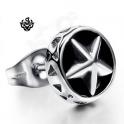 Silver black star stud stainless steel single earring