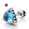 Silver stud blue cz claw earring SINGLE soft gothic