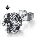 Silver stud swarovski crystal stainless steel king crown gothic single earring