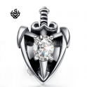 Silver stud clear swarovski crystal earring sword shield SINGLE soft gothic