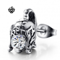 Silver stud swarovski crystal stainless steel knight helmet single earring