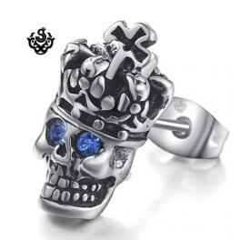 Silver stud blue swarovski crystal stainless steel king skull gothic earring