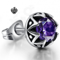 Silver earring purple swarovski crystal stainless steel single stud 0.75ct