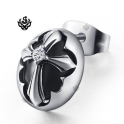 Silver stud black swarovski crystal stainless steel cross single earring