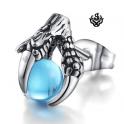 Silver stud sky blue cz ball dragon claw single earring soft gothic