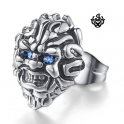 lion stud blue crystal silver stainless steel titanium single earring