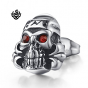 Silver stud red swarovski crystal stainless steel skull gothic single earring
