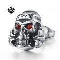 Silver stud red swarovski crystal stainless steel skull gothic single earring