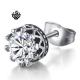 Silver stud swarovski crystal stainless steel crown single earring 1ct