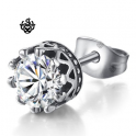 Silver stud swarovski crystal stainless steel crown single earring 1ct