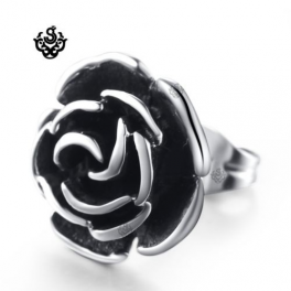 Silver stud stainless steel vintage style rose flower SINGLE earring