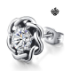 Silver stud swarovski crystal stainless steel flower single earring