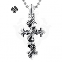 Silver cross pendant swarovski crystal stainless steel skull necklace