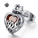 Silver stud ruby red swarovski crystal stainless steel crown heart earring
