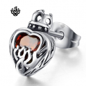 Silver stud ruby red swarovski crystal stainless steel crown heart earring