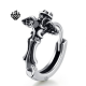 Silver huggie black crystal wings crown cross stainless steel single earring