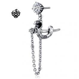 Silver stud dangle simulated diamond cobra sword earring single vintage