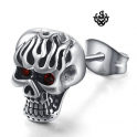 Silver stud red swarovski crystal stainless steel gothic single skull earring