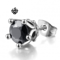 Silver stainless steel crown black crystal gothic stud single earring